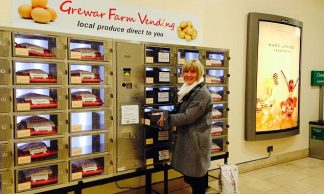 Buy trays of potatoes, eggs and greens … from a VEGETABLE vending machine