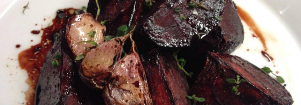 Roasted Ardler beetroot tossed in Cullisse rapeseed oil, with Nairn garlic, Hebridean sea salt and Little Doone balsamic glaze.